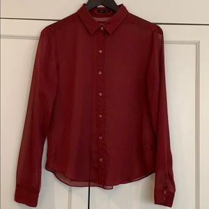 Aritzia talula maroon button down shirt